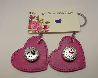Keyring Keyring Keychain Ring Charm leatherette Heart pink Dark Snap button rhinestone Cat felt Love cat Cute Kawaii