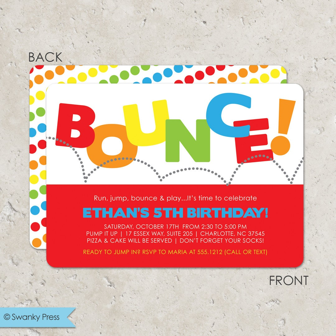 Bounce house birthday party invitation pump it up party zoom filmwisefo Images