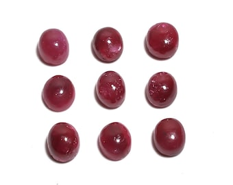 9 Pieces Dyed Ruby Cabochons Lot 7x9mm to 8x9mm Oval Shape Natural Ruby Gemstone Cabochon Loose Gemstones Loose Stones Cabs