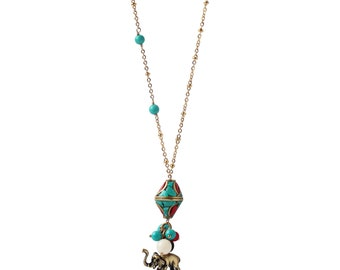 Elephant Mosaic Bead Necklace - Wrapped in Courage
