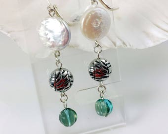 Off White Coin Pearl Dangle Earrings With Turquoise and Silver Accents NE126