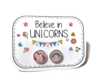 RAINBOW UNICORN EARRINGS - Cute Earrings - Unicorn Stud Earrings - Unicorn Posts - Kawaii - Rainbow Earrings - Girls Earrings