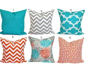 BLUE Gray OUTDOOR PILLOWS, Outdoor Pillow Cover, Decorative Pillow, Turquoise Pillow, Aqua Pillows, Outdoor Cushions, Outdoor Pillow Cover