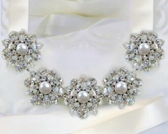 Wedding Headband, Bridal hairpiece pearl crystal tiara bridal hair accessory wedding hair piece tiara head band silver, Tea Rose Collection