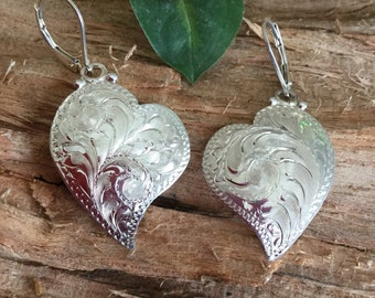 """Sterling Silver Hearts/Engraved dangle earrings/ handmade/ engraved by hand/ Silver by Wanda/ 1 3/4"""" long"""