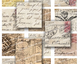 Postcards hand written letters handwriting flowers maps  2 inch squares -  Digital Collage Sheet, Download and Print Jpeg Clip Art Images