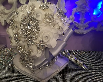 Wedding Bouquet - Brooch White And Silver