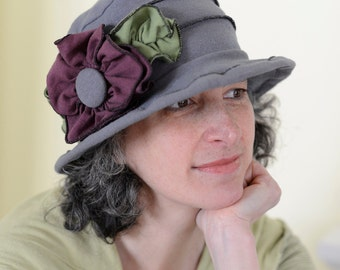 Ladies Spring Hat - Edwardian Travel Hat -  Organic Cotton and Hemp Jersey -Grey -Traveling Mabel, Short Brim