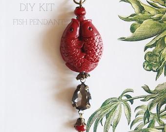 Kit Jewellery Making DIY To Make A Long Red Koi Fish Pendant With Rhinestone Drop