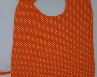 """Large bib size unique orange """"confetti"""" polka dots"""