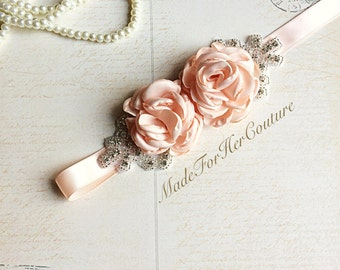 Peach Bridal Sash/Belt, Peach Flower Sash, Flower girl Sash, flower girl belt, Rustic Sash, Wedding Sash, wedding belt,  bridal sash/belt,