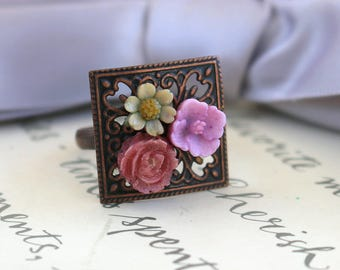Brass Flower ring your choice of two styles