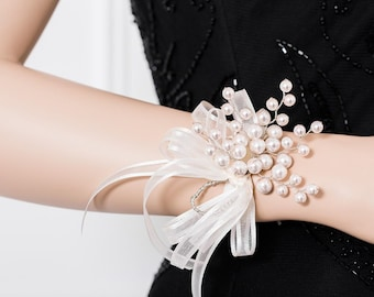 Limited Edition Creamy Ivory Pearl  Corsage  - White Corsage -  Wrist Corsage