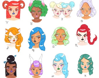 zodiac girlface stickers
