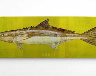 Fathers Day Fishing Gifts for Dad, Gifts for Men, Gift for Husband, Gift for Men, Boyfriend Gift, Fish Art, Cobia Art Block, Cobia Print