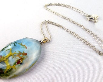 necklace, 925 silver, resin, goldfish