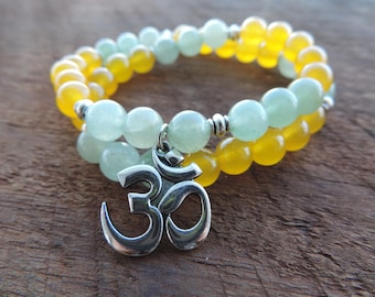Jade Green Aventurine Bracelet, Chakra Bracelet, Healing Meditation Bracelet, Yoga Bracelet, Wrist Mala, Wrap Bracelet