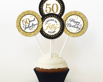 50th Birthday Cupcake Toppers, Gold Glitter and Black, Favor Tags, PRINTABLE, 2 Inch