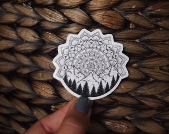 Forest Mandala Sticker, Nature Sticker, Mountain Sticker