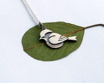 Chickadee bird necklace sterling silver pendant woodland