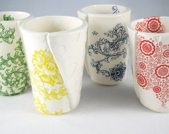 Ceramic cup set of 4 patterned pottery cups silkscreened earthenware tumblers gift for her housewarming gift bridal shower gift clay cup