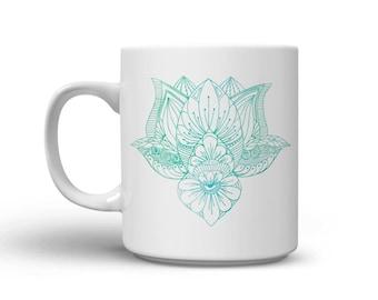 Zen coffee mug - lotus flower coffee mug - yoga inspired gifts - zen - zendoodle - blue lotus flower - green lotus flower