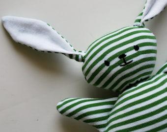 Green Stripey Mooshy Belly Bunny - Upcycled - Rabbit - Plush Stuffed Animal - Baby Toy - Cuddly