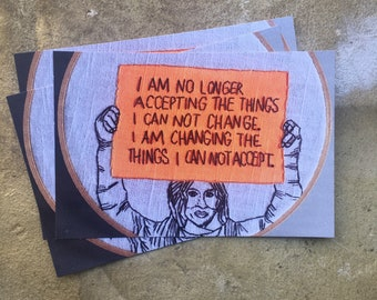 Angela + Ani - hand painted and embroidered postcard inspired by a phoro of Ani DiFranco at an Anti Trump Protest Angela Davis quote sign