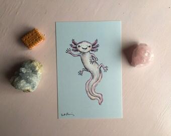 Happy Axolotl 4x6 art print