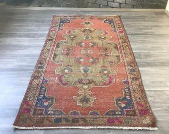 "4""1x8""4ft.Turkish rug,Vintage rug,green rug,Oushak rug,hallway rug,Area rug,design Home rug,decoration rug,Anatolian rug,turkey rug,Rugs."