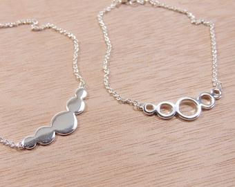 "Silver Plated Link Chain Delicate Dainty Simple Minimalist Geometric Bracelet, Length 7.5"", Choose Your Design (TTB3V)"