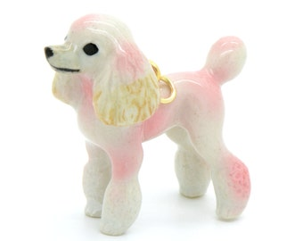 1 - Porcelain Pink Poodle Pendant Hand Painted Glaze Ceramic Animal Ceramic Dog Bead Vintage Jewelry Supplies Little Critterz (CA128)