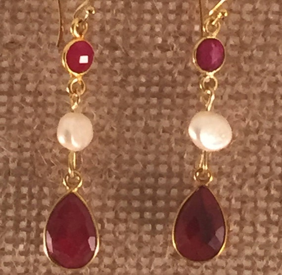 Rubies and Pearls Earrings, vermeil, 24k gold plated, 55mm overall size.