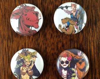 "Booga Tank Girl Comic 1"" Pin Back Buttons and Magnets Set of 4"