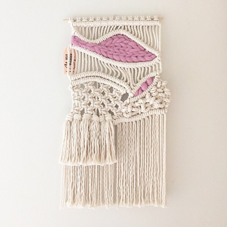 Small Macrame Wall Hanging Tapestry Weaving With Roving