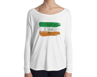 St. Patricks Day Shirt Women Long Sleeve Party Irish Flag Top