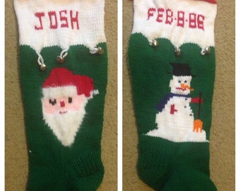 Personalized Handmade Knitted Christmas Stocking *Wool Available* - Santa & Snowman