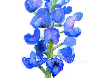Texas Bluebonnet Watercolor Painting - 4 x 6 - Giclee Fine Art Print Reproduction