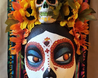 Dia de los Muertos Flower Crown - Yellow and Orange with Skull