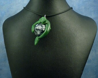Green and Metallic Gray Dicekeeper Dragon Necklace - D20 Pendant