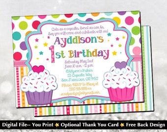 Cupcake Birthday Invitation with FREE Back Design!