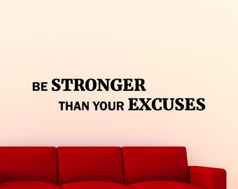 Fitness Wall Decal Be Stronger Than Your Excuses Gym Motivational Quote Vinyl Sticker Sport Workout Inspirational Art Decor Mural 125gy