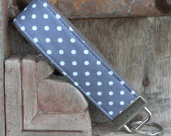 READY TO SHIP-Beautiful Key Fob/Keychain/Wristlet-White Dots on Gray
