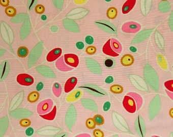 """Alexander Henry Cotton Woven Fabric  """"Novo Blossom"""" Peachy Pink Floral Leaves Quilters Cotton Fabric by the yard - The Fabric Zoo"""
