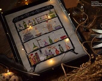 Modern Witch's Lab - Halloween cross stitch PDF pattern, witch cross stitch, magic, potions, spell, alchemy, chemistry, hygge, fall, science