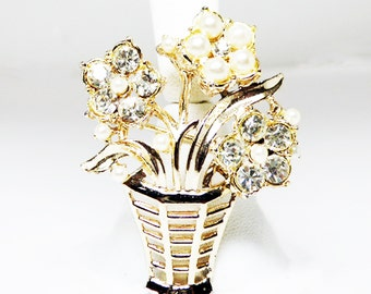 Basket of Flowers Brooch - Rhinestone and Pearl Bead Flowers - Flower Brooch - Faux Pearl Bead - Pearlescent & Gold Tone Vintage 1950s 1960s