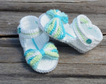Crochet Baby Sandals, Paris Baby Sandals, Blue and Green Baby Girl Sandals, Gift