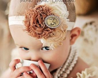 Baby headband,Baby headbands, baby girl headband, shabby chic headband, vintage inspired headband,newborn headband, flower girl headband.