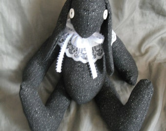 Blackie the soft sculpture fabric Bunny Rabbit with button eyes