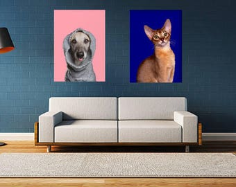 Custom pet painting wall art exaggerated and artistic